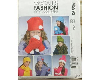 McCall's Pattern 5993 Girl's Winter Hat & Mittens - Uncut