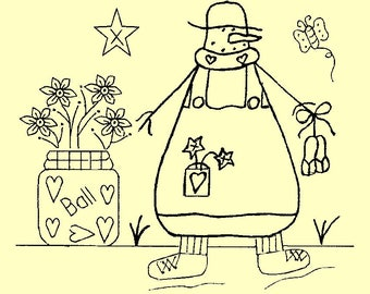 """Primitive Stitchery E-Pattern Snowman by Month June, """"June is the month for sunshine and flipflops!"""""""