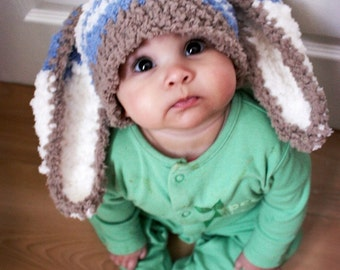 2T to 4T Toddler Boy Hat, Bunny Hat, Blue Stripe Bunny Ears, Crochet Toddler Hat, Crochet Boy Hat, Brown Blue Cream Bunny Toddler Prop