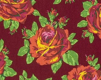 YARD - Amy Butler Fabric, Eternal Sunshine, Rose Lore, Amber, Floral cotton quilting fabric