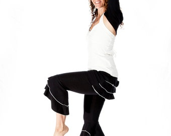 Ruffle Capri Pants / Bloomers - BUSTLE CAPRIS - festival clothing, burning man, tango, yoga, bellydance