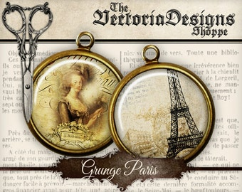 Grunge Paris Circles printable - 2 inch 1.5 inch 1 inch 20mm 18mm 16mm 14mm 0.5 inch instant digital download collage sheet- VDCIGR1228
