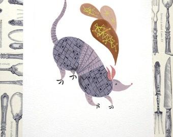 Armadillo Illustration Print