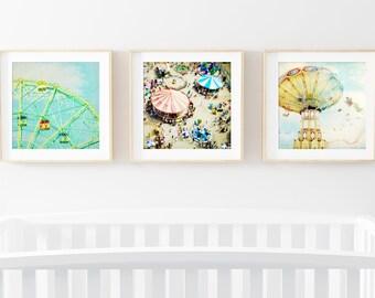 Nursery Art Set // Modern Brightly Colored Nursery Art // Colorful Kids Room Art // Boardwalk Carnival Dreams Print Set Kids Room - SET OF 3