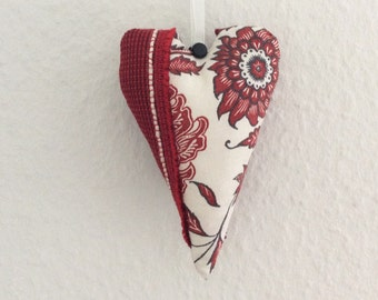 Floral Heart Decoration, Red Valentine Heart, Fabric Heart Ornament, Valentines Day Decor, Hanging Heart