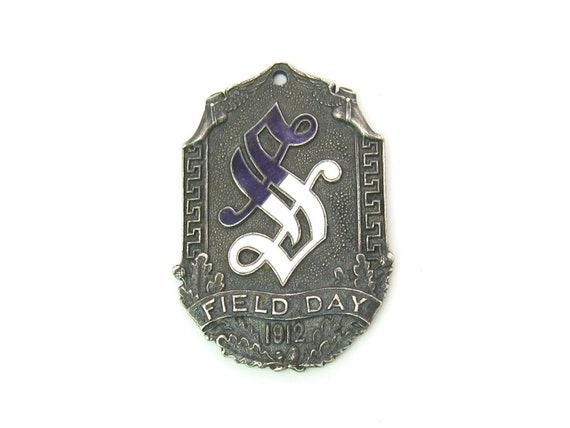 Athletics Sterling Silver Medal Pendant Purple White Enamel Gothic Letter S Mercury Hermes Winged Feet Acorns Leaves Antique 1910s Field Day