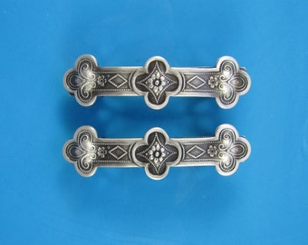 Celtic Clover French Barrettes Set of Two 50mm- Hair Accessories- Hair Clip- Small Barrette- Silver Barrette