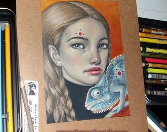 Emotions - original coloured pencil drawing illustration art by Tanya Bond - pop surrealism chameleon girl