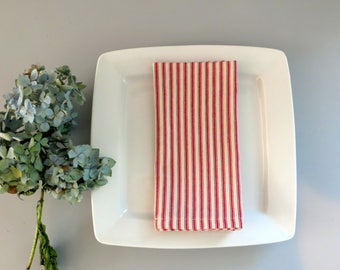 6 dinner napkins, French ticking napkins, fabric napkins, red napkins