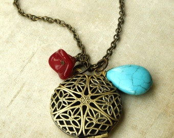Long Locket Necklace with Turquoise Bead and Red  Flower, Perfume Locket