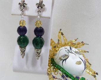 Mardi Gras Fleur De Lis Post Earrings