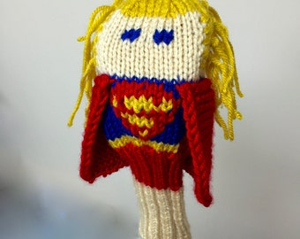 Supergirl, Golf Headcover, Golf Club Cover, Golf Head Cover, Knit, Superhero, Gifts For Men, Gifts for Women, Comic Book, Unique Golf Gifts
