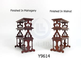 Miniature 1:12 Scale Doll House Victorian Barker's Rack[Finished in walnut / Mahogany]