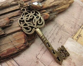 Ornate Style Victorian Key Necklace, Bridesmaid Gift, Gift Ideas, Bronze Key, Vintage Key, Key Pendant, Friend Ship Necklace, Key Necklace