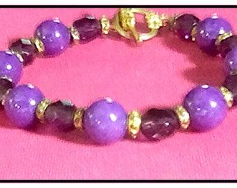 Artisan Purple Jade & Crystal Bracelet