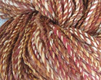 Hand Spun Art Yarn, Coppertones
