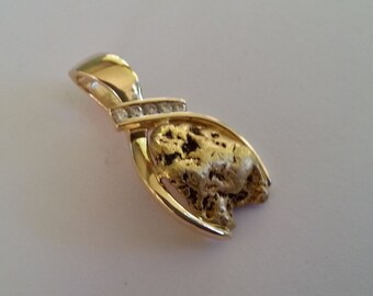 Diamond and Natural gold nugget Pendant