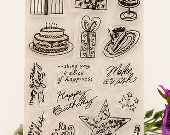 Clear stamp set / clear stamps / silicone stamps (Happy Birthday)