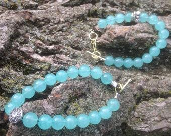 Jade Crystal Healing Bracelet Leather Clasp