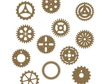 "Gears 2"" Set of 12 Laser Cut Chipboard FREE SHIPPING! in US"