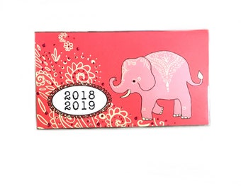 2018 2019 mini Planner - Mehndi Elephants pocket planner - two year calendar - 2 year monthly HORIZONTAL FORMAT stocking stuffer new year