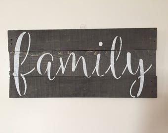 Family planked, reclaimed wood sign
