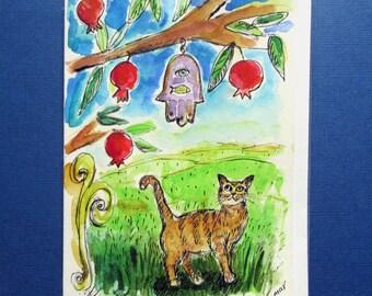 Pomegranates, Cat Gifts, Jewish Card, Bar Mitzvah Card, Bat Mitzvah Card, Jewish Cat Mom, Judaica, Hand Painted Card, Cat Lovers, Chamsa Eye