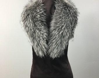 Luxury gift/Silver Fox Fur Collar  Women's/wedding or anniversary present