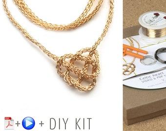 Knot Necklace - Celtic Knot Necklace  - Love knot necklace - DIY Kit - Wire crochet pattern - Jewelry Making Kit - Crochet jewelry Kit