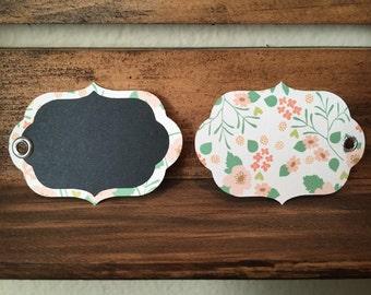 Flower Chalkboard Name Tags / Gift Tags / Labeling Tags- set of 15