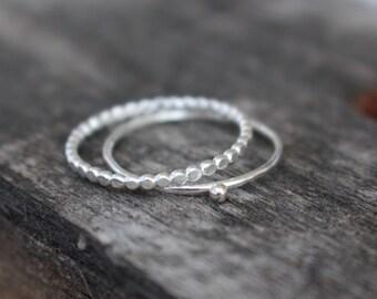 Set 925 Sterling Silver  Dot rings