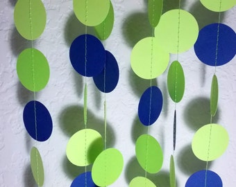 Paper Garland, Lime Green & Navy Circle Garland, Party Decoration, Birthday Party,  12 Ft., Ships in 2-3 Business Days