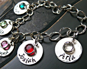 Five Charms Personalized Silver Bracelet - Personalized Bracelet - Mothers Bracelet - Hand Stamped Bracelet with Birthstones
