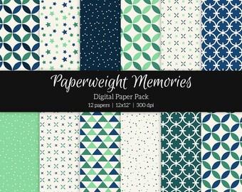 """Digital patterned paper - Northern Lights -  digital scrapbooking - patterned paper - scrapbook paper - 12x12"""" 300dpi  - CU ok"""