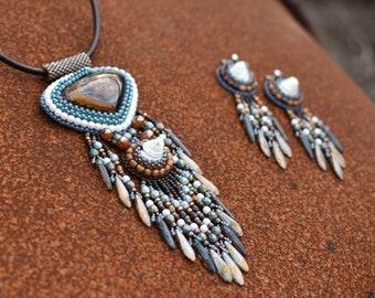 Tiger Warrior -  set of beadwoven jewelry