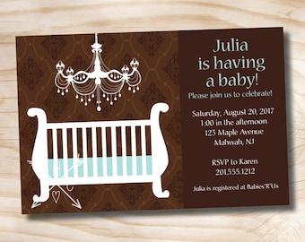 ELEGANT CHANDELIER Baby Shower Invitation - Printable Digital file or Printed Invitations