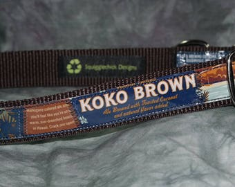 Adjustable Dog Collar from Recycled Kona Brewing Koko Brown Beer Labels