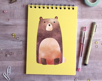 NOTEBOOK. A5 Cute Bear Spiral Notebook. Soft 300 gsm Card Cover. 100 lined pages. Matte lamination pleasant to the touch.