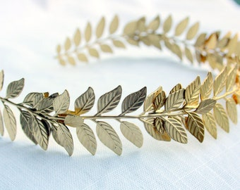 ATHENA Grecian Leaf Headpiece in 24K Gold Plate