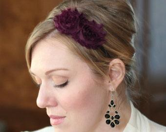 Eggplant Headband Flower, Shabby Chic Style for Women and Girls