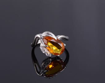 10k 3.56 Ctw Yellow Spinel* Cubic Zirconia Leaf Ring Gold