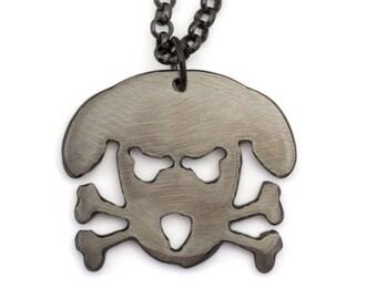 Metal Outlaw Doggy - Holmes - Pendant on Gunmetal Chain by WATTO Distinctive Metal Wear