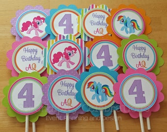Cupcake Toppers, Rainbow Pony, Pink Pony, Set of 12 Personalized My Lil Pony Inspired Cupcake Toppers -Pony Cupcake Toppers, Pony Birthday