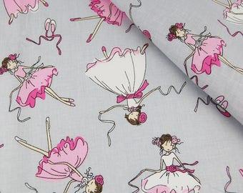 100% cotton fabric, 100 x 160 cm, textile printing, pink dancer, ballerina