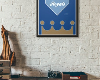 Kansas City Royals Crown Minimal Baseball Poster