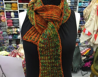 Skinny Fat 2-Color Brioche Scarf