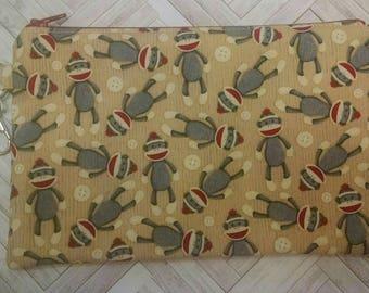 "Sock Monkey Zipper Pouch ~ 8"" x 5.5"" Fabric Zipper Case ~  Makeup Pouch ~ Pencil Pouch"