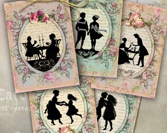 Printable Download VICTORIAN SILHOUETTES Digital Collage Sheet 2.5x3.5 inch size images shabby paper tags Jewelry Holders greeting cards