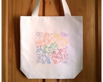 Unicorns Embroidered Canvas Tote Bag - Rainbow Multicolour Ombre Book Bag, Shopping Bag For Life, Cute Kawaii Magical Pony Unicorns, 2983