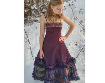 Upcycled Steampunk Clothing, Purple Ruffle Dress, Repurposed Dress Altered Fashion, Upcycled Purple Evening Gown with ruffles, Ladies Sz 6